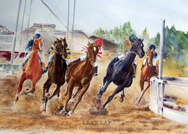 """original watercolor horse racing painting by Dotty Reiman titled """"Last Lap"""""""