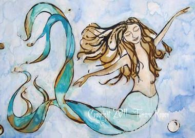 Sweet Dreams mermaid painting by Tamara Kapan