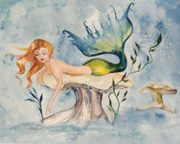 Mermaid watercolor painting by Dotty Reiman titled Daydreamer