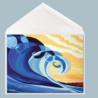 Mavericks wave art greeting card by Tamara Kapan