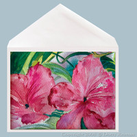 Pretty In Pink watercolor greeting card by Dotty Reiman.  Greeting card measures 5 x 7 inches.