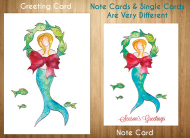 Please note the differences in the larger Greeting Card for $4.75 and the smaller set of 8 note cards for $16.