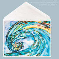 Abstract Wave Art titled Liquid Glass by Tamara Kapan available as a 5 x 7 inch greeting card.