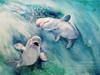 "Beluga Whales Watercolor Painting by Dotty Reiman titled ""Beluga Babies"""