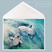Beluga Babies greeting card by Dotty Reiman
