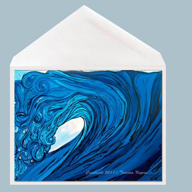 Frolic wave art greeting card by Tamara Kapan.  Card measures 5 x 7 inches.