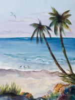 Coastal art watercolor painting by Dotty Reiman titled Weekend Getaway