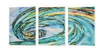 Liquid Glass tryptic painting measuring 72 inches wide x 30 inches high x 1.5 inches deep.   Each panel measures 24 inches wide x 30 inches high x 1.5 inches deep.  Artwork by Tamara Kapan
