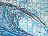 """Original Abstract Wave art by Tamara Kapan.  Large painting measures 48"""" x 36"""" x 1.5"""" Title is Natural Instincts"""