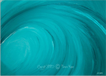 Turquoise Abstract Wave Art by Tamara Kapan titled At Peace