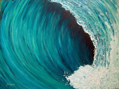 Original Turquoise Wave Painting by Tamara Kapan titled Blessings