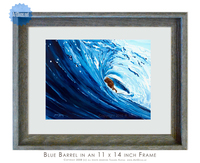 11 x 14 inch surfer print titled Blue Barrel by Tamara Kapan framed in an 11 x 14 inch weathered grey wood frame.