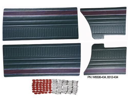 W6506 Mopar 1972 Duster 340 and Dart Swinger Scamp Front and Rear Woodgrain Door Panel Set