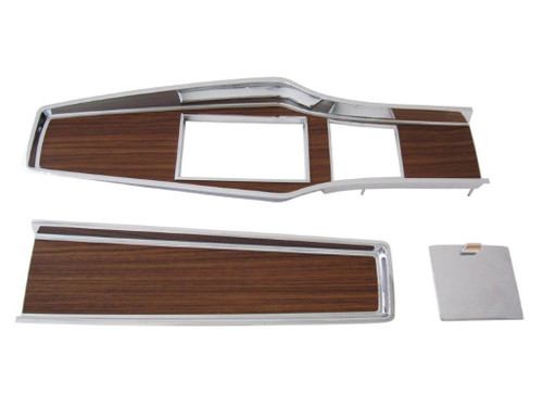 331-70SET Mopar 1969-71 A-body Diecast Woodgrain 4 Speed Console Plate Kit
