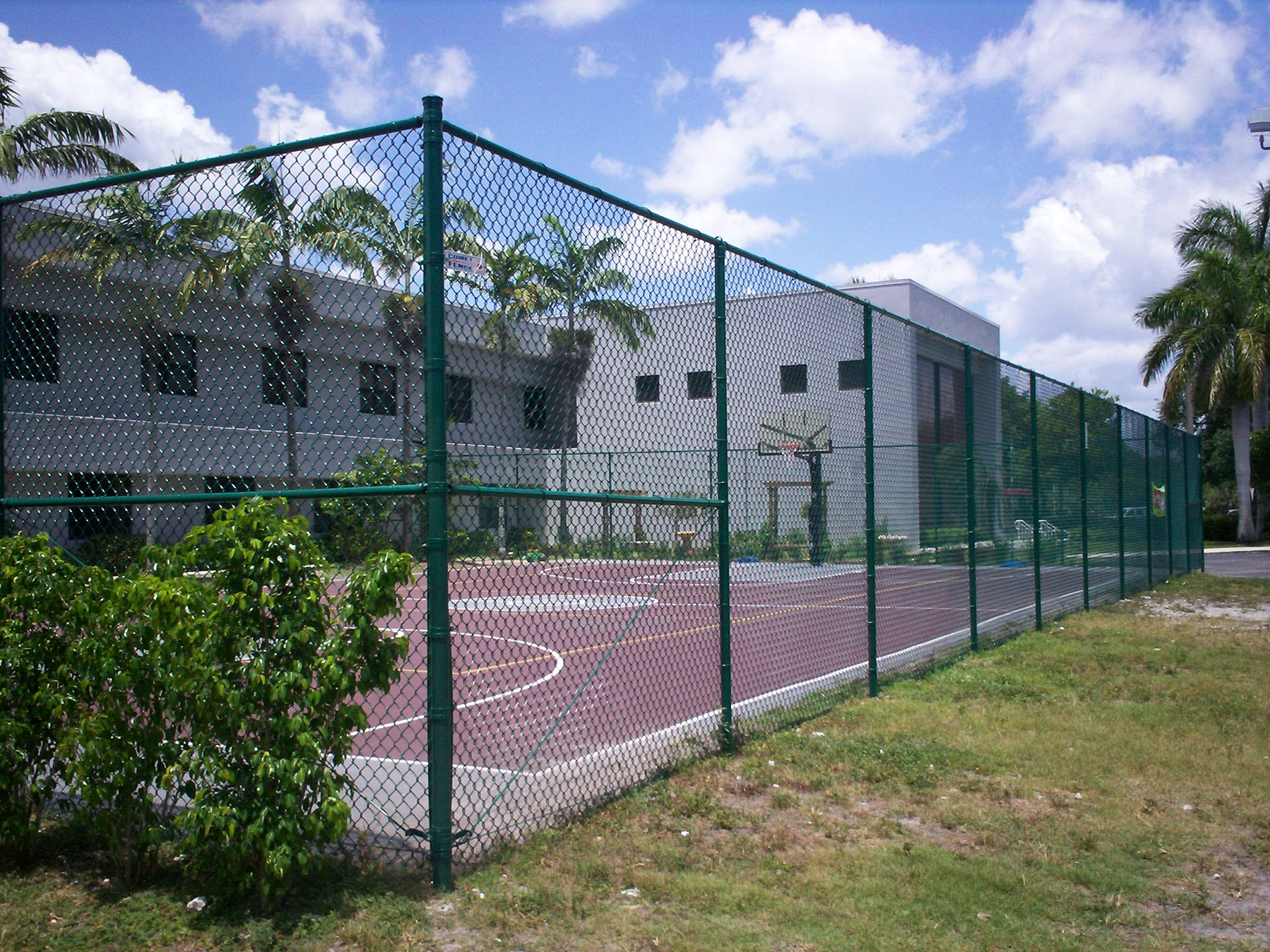 Fence material com Basketball court installation cost