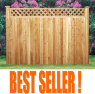 "WILTON Cedar Pre-built panel, with Diagonal Lattice Topper, with 5"" T&G Boards- with Backer Rails, 6 ft & 7 ft High"