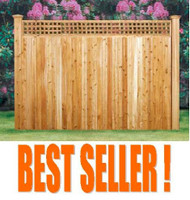 "WESTPORT Cedar Lattice Fences, Pre-built, with Square Lattice Topper, 5"" T&G, 6 ft & 7 ft High"