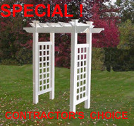 "Vinyl Pergola Arbor, White, 4 ft Opening , Heavy 5"" Lattice Side Panels Special!"