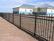 Wrought Iron Railing Fence 3 RAIL Panels, Spear Top, Flush Bottom - Posts not included