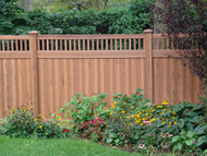 Cedar Vinyl Picket Top Privacy Fence - 6 x 8ft Woodgrain Style