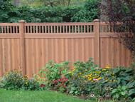 Cedar Vinyl Picket Top Privacy Fence - 6 x 8ft Woodgrain Style