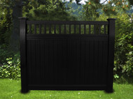 BLACK VINYL PRIVACY PICKET TOP FENCE 6 FT X 6 FT