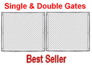 "8 ft Galvanized Commercial 1-5/8"" frame Gate Kit with Hinges & Latch, Self Assembly."
