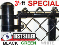 "3-1/2 Ft Vinyl Coated System Complete includes 2""x 9 Ga. Mesh, 1-3/8"" Top Rail, 1-5/8"" Line Posts and Hardware, Price shown is per linear foot.Enter total feet of your fence in Qnty box in this line."