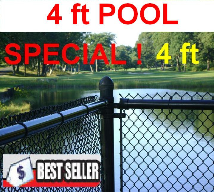 4 Ft High Black Chain Link Pool Safety Fence 1 1 4 Quot 11