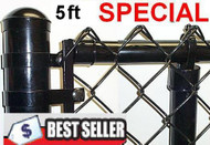 "5 Ft Vinyl Coated System Complete includes 2""x 9 Ga. Mesh, 1-3/8"" Top Rail, 1-5/8"" Line Posts (1 per 10ft spacing) and Hardware, ENTER TOTAL LINEAR FEET IN QTY. Price / ft. Corner, End, Gate Posts and gates not included."