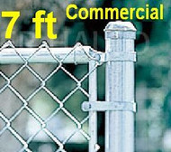 "7 ft Galvanized Commercial System Complete Package. The price per ft. Includes: All Line Posts (2"" OD x 9 ft) with hardware every 10 feet, All Top Rail (1-5/8""), All Mesh (2"" x 9 gauge). Enter total feet of your fence in Qty box in this line"