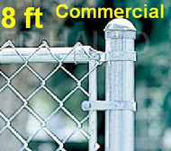 "8 ft Galvanized Commercial System Complete Package. The price per ft. Includes: All Line Posts (2"" OD x 10-1/2ft) with hardware every 10 feet, All Top Rail (1-5/8""), All Mesh (2"" x 9 gauge). Corner, End, Gate Posts and gates not included."