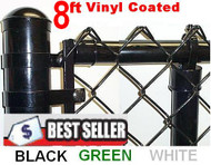 8ft Vinyl Coated Chain Link Fence Complete System with 9 ga. wire