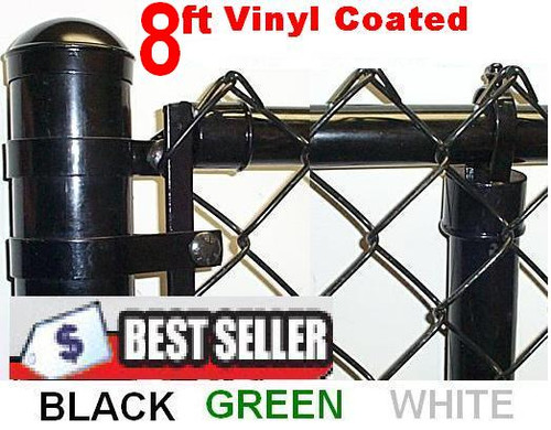 8ft Vinyl Coated Chain Link Fence Complete System with 9 ga. wire ...