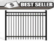 Aluminum Fence - PR Flat Top Black 5 ft x 6 ft wide Pool Fence