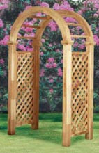Cedar Arbor Arch top , Diagonal Lattice Panels, Northern White Cedar