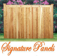 "SIGNATURE Cedar Fence - Grand Premium Panels Pre-Built with 5"" T&G Boards- with Backer Rails, Front side Shown"