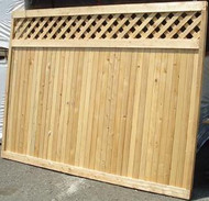NEW CANAAN Good Neighbor Cedar Fence Lattice Top -6ft H x 8ft Wide Attached Diagonal Lattice Topper . Pre-Built , same finish on both sides