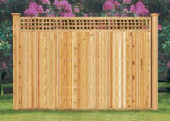 LITHCHFIELD Cedar Fence Good Neighbor, - Square Lattice, 6 ft x 8 ft , Pre-Built both sides finished same.