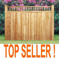 "GUILFORD Cedar Fence Closed Picket Top, Premium Pre-Built Privacy with backer rails,, 5"" T&G Panels, with 1 ft Picket Topper."
