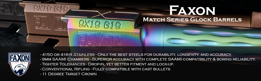 Faxon Firearms has produced match series barrels for the Glock 17, 19, and 34 that are designed for competitions at a amazingly low price.