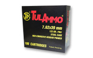 TulAmmo 7.62x39mm Ammunition 100 Rounds, Steel Case FMJ 122 Grains