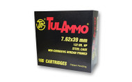 TulAmmo 7.62x39mm Ammunition 100 Rounds, Steel Case HP 122 Grains