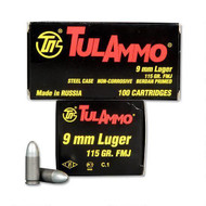 TulAmmo 9mm Ammunition 100 Rounds, FMJ, 115 Grains