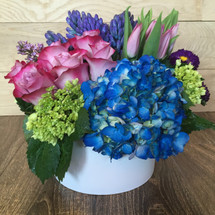 Strikingly Spring showcasing  roses, hydrangea, lilac and hyacinth (when available) filled in a white ceramic container in Washington DC and Rockville MD, Palace Florists