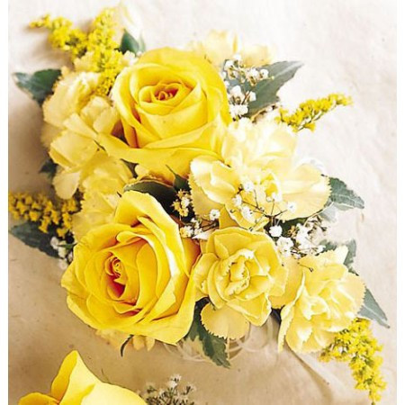 Yellow roses wrist corsage in rockville md and washington dc yellow roses wrist corsage showcasing yellow roses with yellow carnations accent flowers and greenery in mightylinksfo