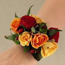 Fall Colors Wrist Corsage showcasing red, orange and yellow roses with crystals (if available) in Rockville MD and Washington DC