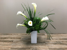 Cupid's Callas showcases 5 white callas and swirls of bear grass in Bethesda MD, Palace Florists