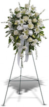 Sentiments of Serenity Spray includes white roses, white Asiatic lilies and white carnations, accented with assorted greenery in Washington DC, Palace Florists