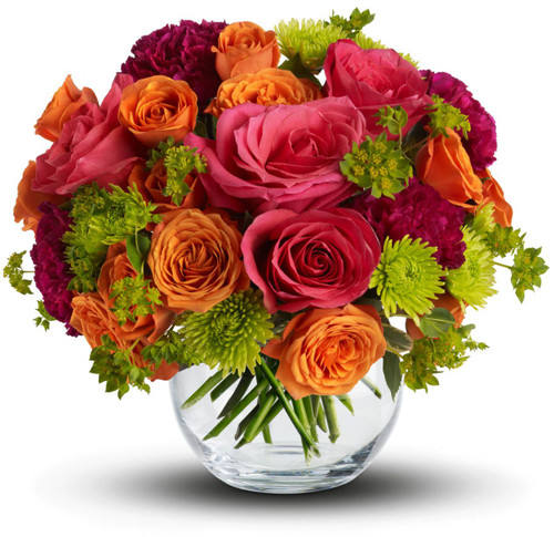 Smile for Me showcases hot pink roses, orange spray roses, purple carnations and foliage in a glass bubble bowl in Washington DC and Rockville MD, Palace Florists
